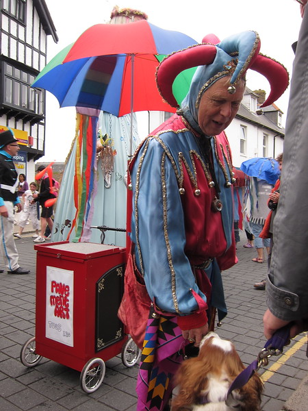 Jester stops to visit with dog