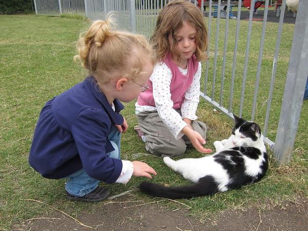 Flora and Harriett find a very patient cat