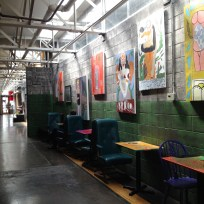 The interior of Fuel Café. Their restaurant is part of an old, renovated taxi hub in the industrial part of the city. There are many artist studios, small start-up companies, a coffee shop, and several lofts in this repurposed area.