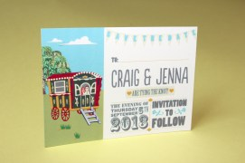 music festival inspired wedding stationery: save the date