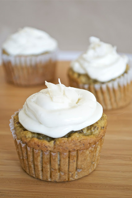 Coconut Vanilla Cupcakes with Greek Yogurt Frosting