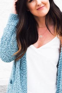 Fuzzy Blue Cardigan Look // Under $20 Cabbage Enchilada Recipe// Shopbop Sale Picks