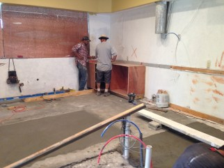 the very start of the kitchen
