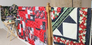 A little sewing accomplished, Marilynn started and finished the Christmas top, I pieced 2 University of Utah Quilts - pattern Fat Quarter Frenzy, fabric and pattern purchased at Elaine's Quilt Block in Salt Lake City - I will be teaching there the end of July!