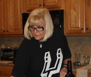 Holly supervising the wine in the kitchen!
