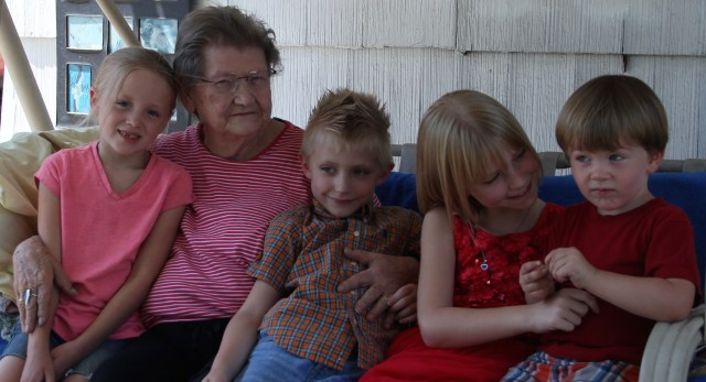 A Great Lady with her Great-Grandchildren