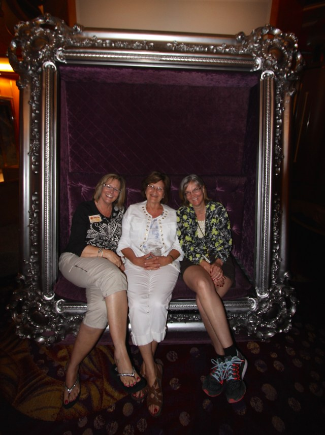 Winnie, Linda and Me posing in the big framed chair - time for a little unwind!