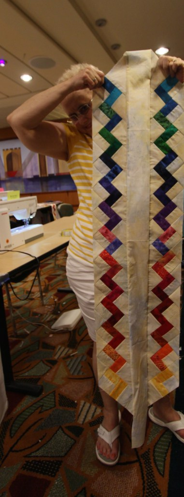 The quilt I taught on the cruise.  Landscape Table Runner - The only photo I took during the class!