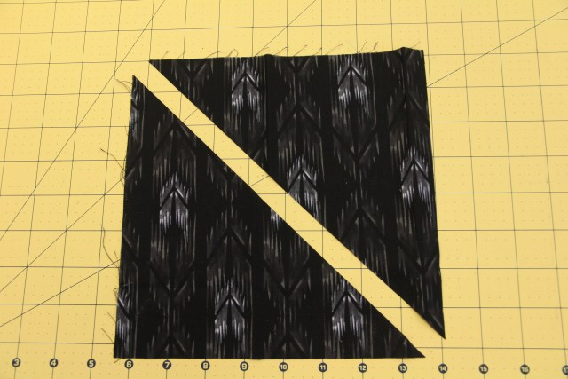 "Cut the 8 1/2"" squares once on the diagonal"