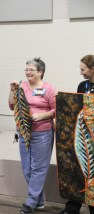 Debby got her leaf together she was so excited to get that far and then Michelle brings a finished quilt!