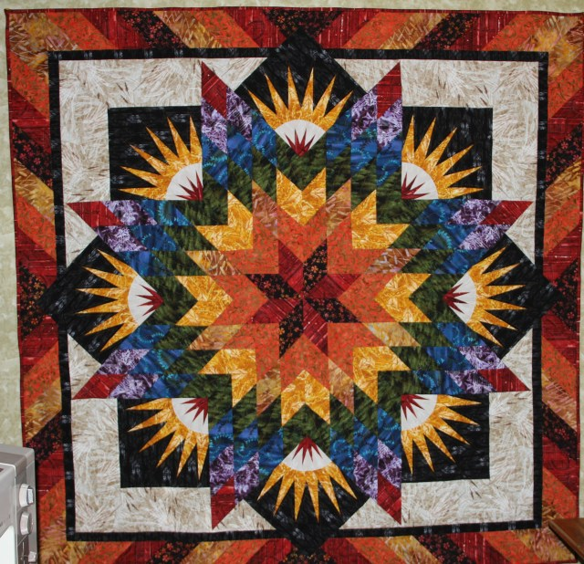 """My Summer Solstice made with fabrics designed by Judy and Judel Niemeyer """"Reclaimed West"""" distributed by Timeless Treasures"""