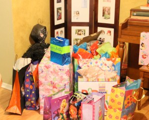 And with 2 kids having a bday party the gift giving in quite a site!