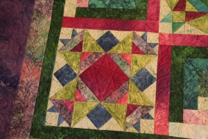 Custom free hand quilting in each of the sampler blocks