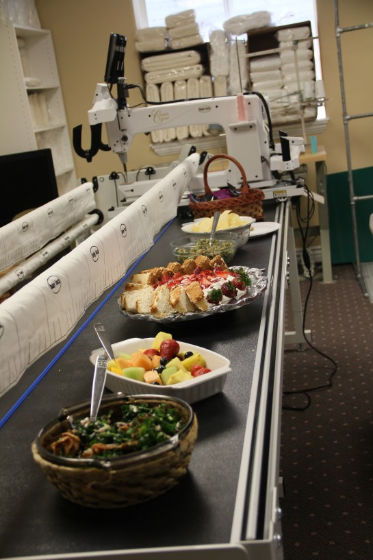 One of the 2 longarms at the shop made a great lunch buffet