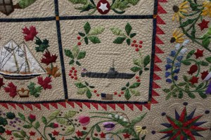 A substitution to the original quilt (which is all tall ships).