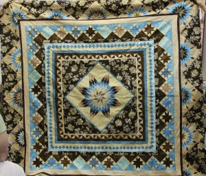 Kathie's Borders Quilt.  Made in a class taught by Winnie Fleming at Pinwheels and Posies.