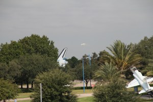 How low can you go?  That is space center Houston - with a part of the space shuttle mock up.