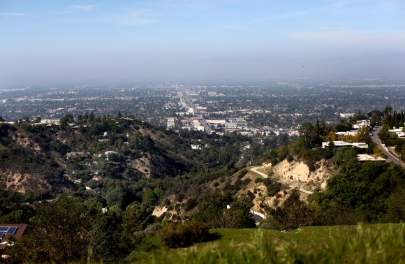 View of Los Angeles from the famed Mulholland Drive.