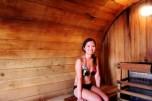 in the barrel sauna