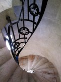 One of many winding stairwells