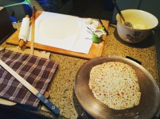 Making the almighty lefse with Mom.
