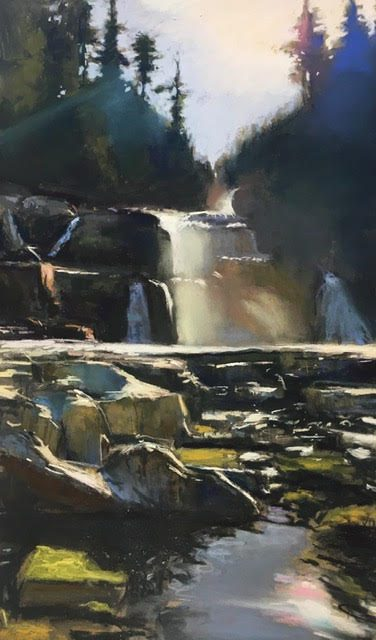 Pastel art - waterfall by David Shkolny