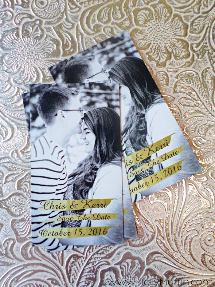 simple gold save-the-dates magnets