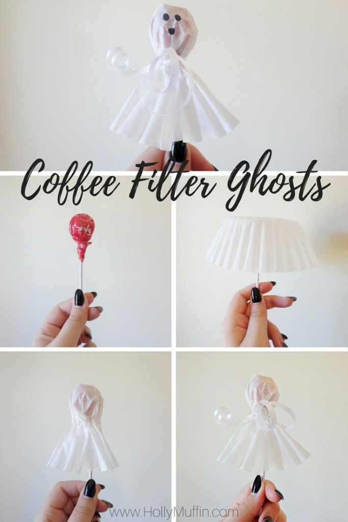 Coffee filter ghosts - easy and inexpensive Halloween DIY!