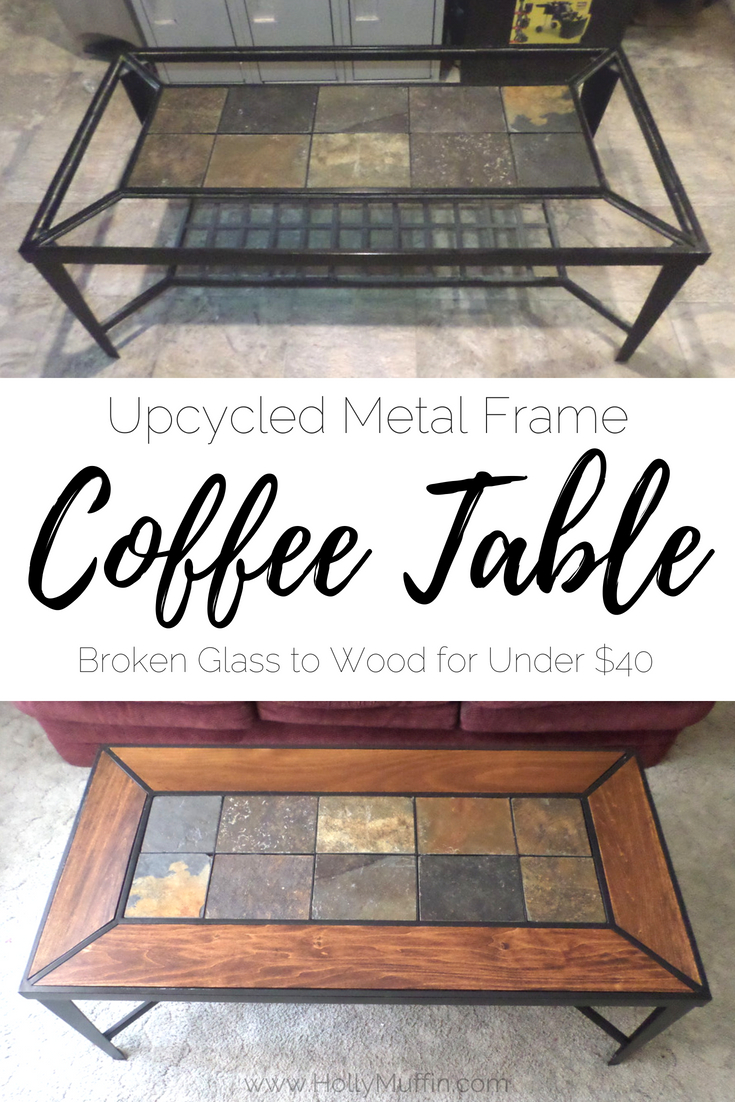 Upcycled coffee table - from glass to wood for under $40!