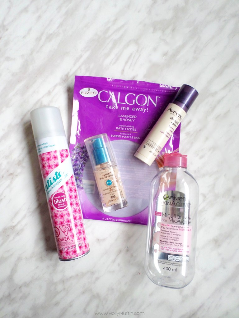 Empties Review! Check out my reviews of Blush Batiste, Covergirl Outlast Foundation, Calgon Bath Fizzies, Aveeno Absolutely Ageness Leave-On Mask, and Garnier Micellar Water