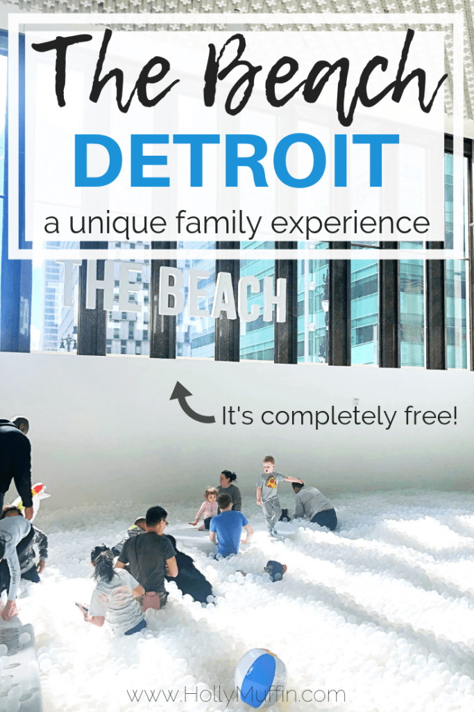 "The Beach Detroit is a unique art installation featuring thousand of recyclable balls to ""swim"" in. It's a must visit! #Detroit #Travel"