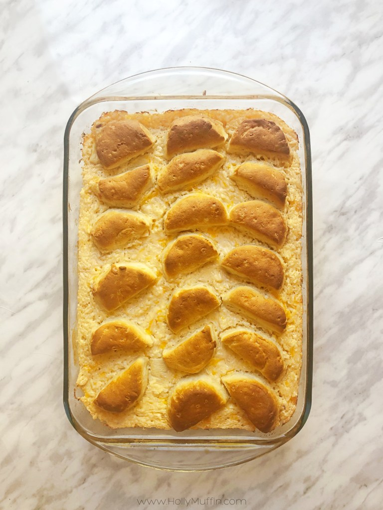 frugal easy recipe: cheesy chicken rice biscuit bake