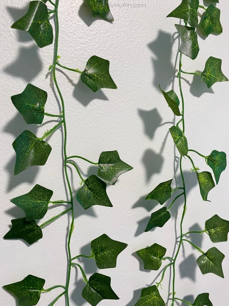 Artificial vine wall closeup