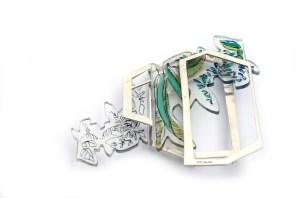 Two Tone Modern Glasshouse Brooch - £270