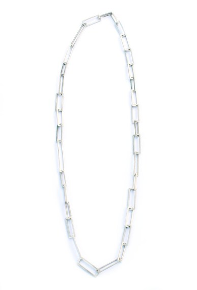 Silver Rectangular Uneven Chain Necklace