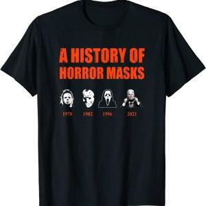 2021 A History of Horror Masks Halloween Funny Costume Anti Biden T-Shirt