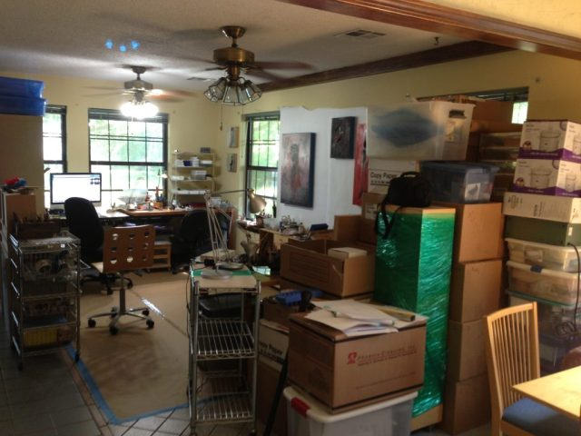 Temporary in house studio till we get A/C in shop.
