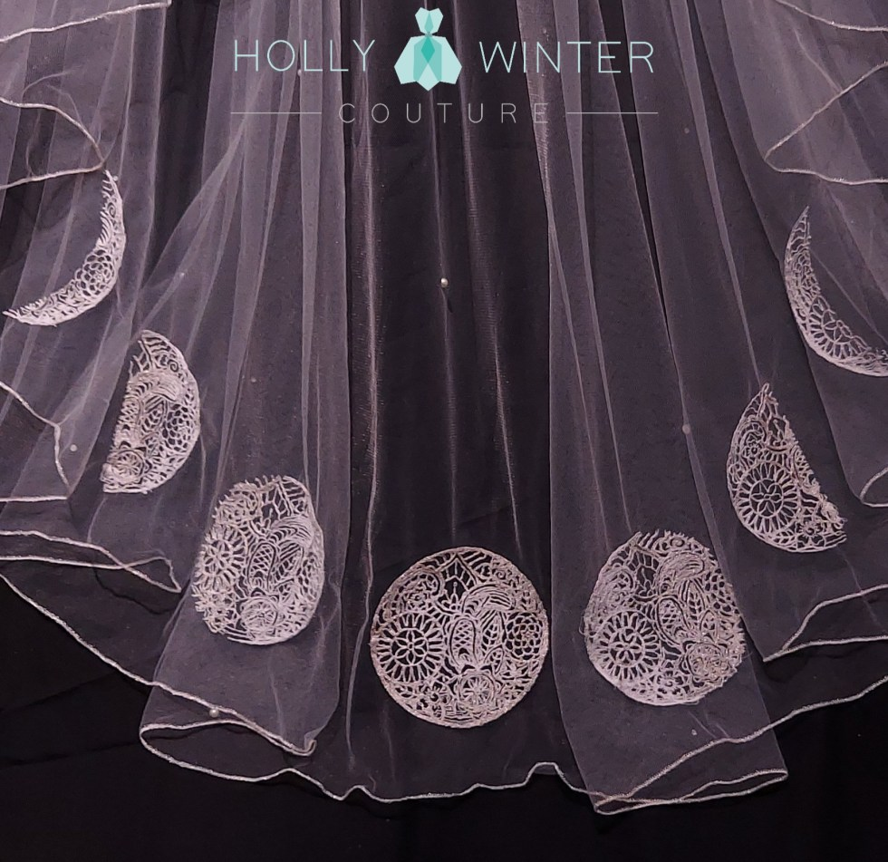 phases of the moon embroidered veil Holly Winter Couture
