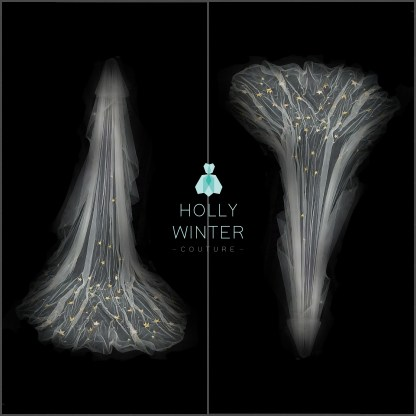 Starry Night cathedral veil with embroidered gold stars by Holly Winter Couture