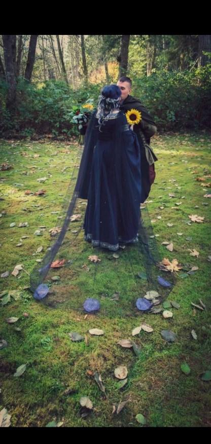 real wedding 2020 bridal cape blue moon black veil