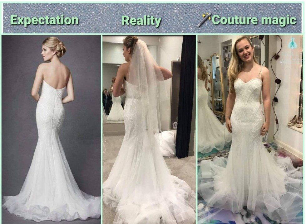 Wedding dress expectations vs reality saved by couture finishing by Holly Winter Couture alterations