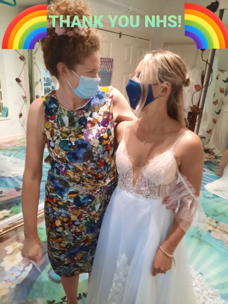 Holly Winter Couture with NHS bride Immi Warren in her bespoke designed and made to measure wedding dress.