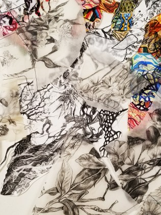 """""""Flight of Thought"""" (Detail 2) 2018, Gauche, ink and graphite on paper, transparency film and thread, 3'H x 2'W."""