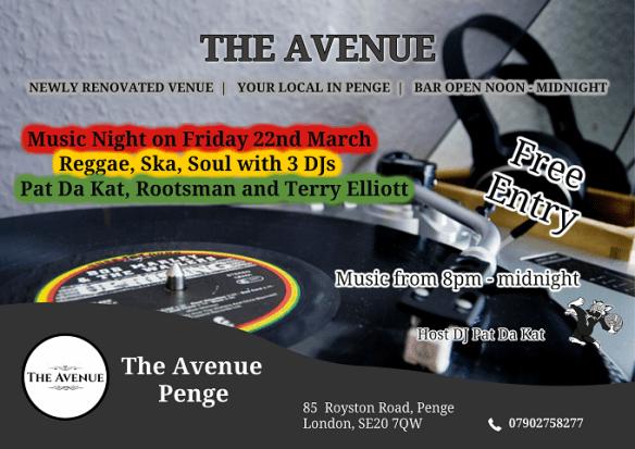Reggae music at The Avenue SE20 7QW