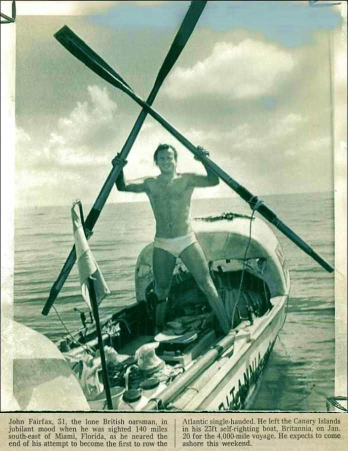 Hollywood celebrates 50th anniversary of the landing of john fairfax, first rower to cross the atlantic