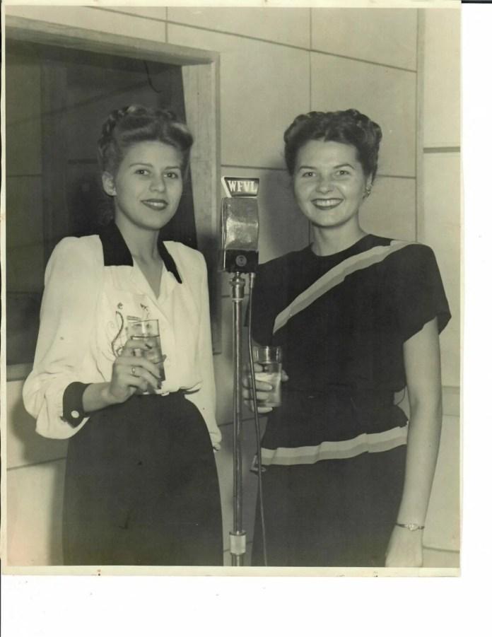 Great Southern Hotel, inauguration of radio station WFVL, Montyna Montayne and Marion Obenauf celebrating, October 15, 1946. Courtesy of Marion Obenauf Fording.