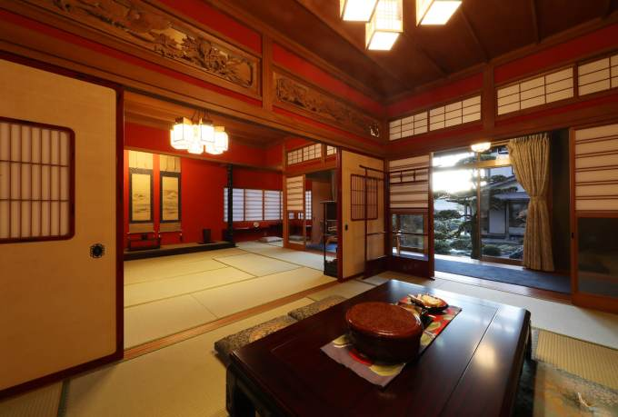 Japanese Living Area with Red Black Lacquered