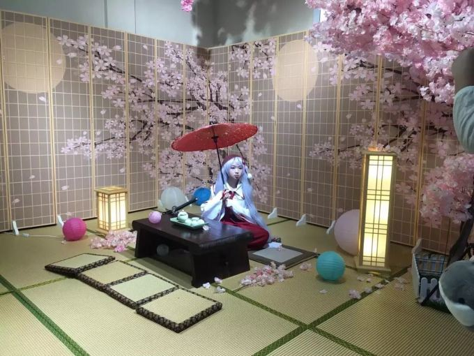 Japanese Living Room With Cherry Blossom