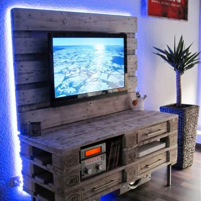 DIY TV Stand with Built-in Lighting