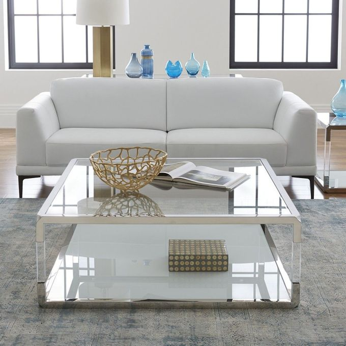 Square Coffee Table in Acrylic or White Glass
